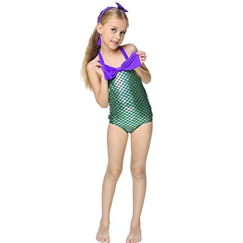 Badeanzug Mädchen Mermaid Flosse Bademode zum Schwimmen Meerjungfrau Schwanz Kostüm Kleinkinder / Baby / Bikini Fisch Schuppen (Schwimmen Kostüme Babys Für)