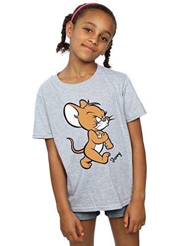 Tom and Jerry Mädchen Angry Mouse T-Shirt Sport Grau 5-6 Years
