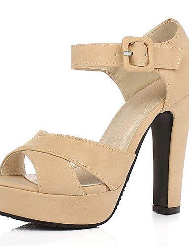 UWSZZ IL Sandali eleganti comfort Scarpe Donna-Sandali-Ufficio e lavoro / Formale / Casual-Tacchi / Plateau-Quadrato-Finta pelle-Nero / Rosa / Beige beige