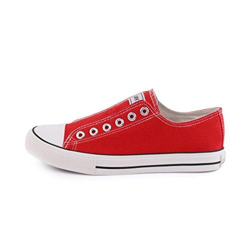 Sneakers best-boots da donna scarpe da ginnastica atletica scarpe Cords Slipper Rosso (Red without)