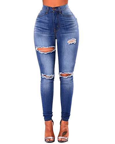 Moollyfox Ladies High Waisted Slim Fit Jeans Stretchy Knee Ripped Cut Skinny Denim Trousers