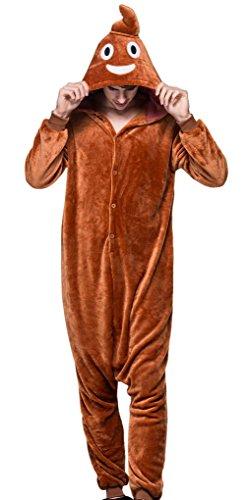Halloween Kostüm Lustige Herren - AIVTALK Damen Herren Flanell Pyjama Schlafanzug Lustig Kostüm, für Halloween Fasching Kinderparty Karneval, Einteilig Nachtwäsche Jumpsiut Größe L für Körpergrößer 170-180cm - Braun