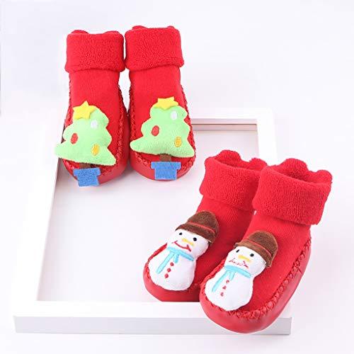 Lfy 2 paia di calzini natalizi, calzini caldi per bambini, calzini antiscivolo da vacanza per 6-24 mesi calzini caldi (colore : red 01, dimensioni : 12-24 months)