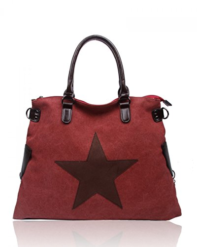 LeahWard® Groß Schule Taschen Damen Segeltuch Schultertasche Handtasche A4 160163 160164 BURGUNDY Schultertasche