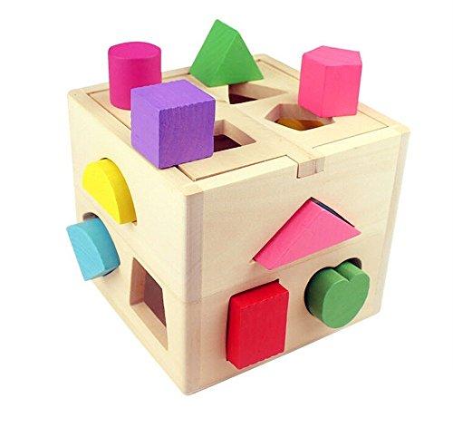 MXtechnic Bambini Beometria Colori e Forme in Legno Incastro Building Block Educativo Giocattolo