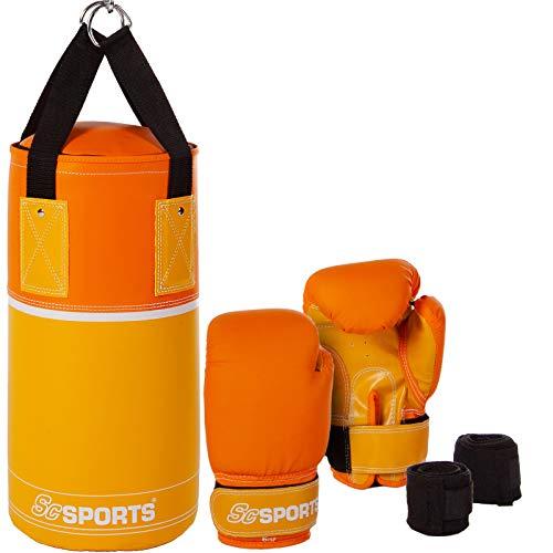 ScSPORTS Kinder Boxsack-Set, Boxsack gefüllt 3 kg, mit Boxhandschuhen, Boxbandagen und Tragetasche, inkl. Halterung, gelb/orange