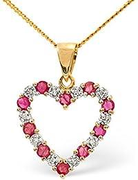 TheDiamondStore - Herz-Anhänger mit Halskette - Rubine & Diamanten - Gold 9 Karat