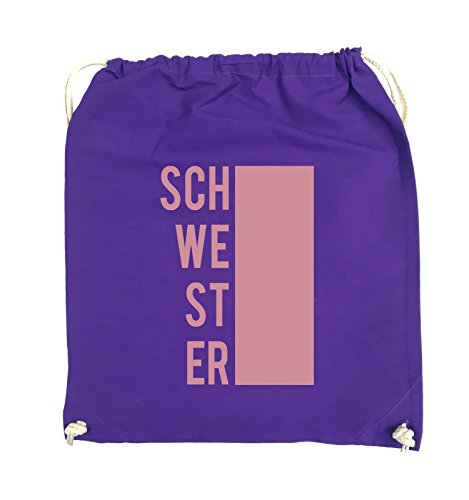 Comedy Bags - SCHWESTER - BLOCK - Turnbeutel - 37x46cm - Farbe: Schwarz / Silber Lila / Rosa