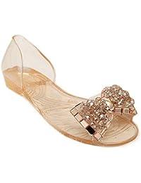 Mine Tom Mujer Sandalias De Verano Zapatos De La Jalea Bling Pajarita El Sandalias De Playa Casual Peep Toe Zapatos