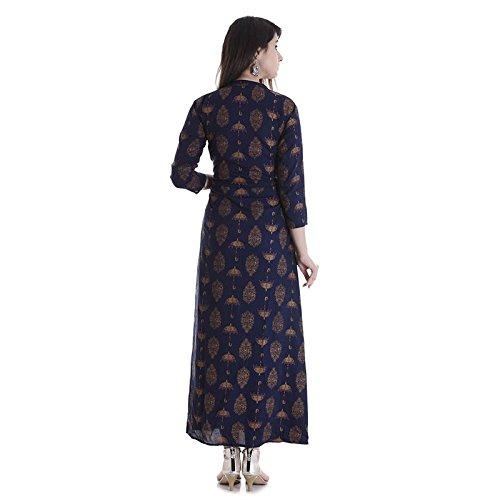 Stylum Women's Cotton Umbrella Printed Kurti(stylumnavyumbrella_Blue_Large)