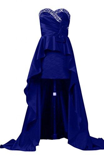 Sunvary Robe de Soir¨¦e Robe de Bal Robe de Party Asym¨¦trique sans Bretelles Col en C?ur avec Faux Diamants en Satin Bleu Roi