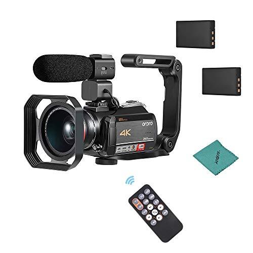 ORDRO AC5 WiFi Digitalkamera Camcorder WiFi 24MP mit 3,1 Zoll IPS-Touchscreen 12x Optischer Zoom mit 0.39X Weitwinkelobjektiv + Gegenlichtblende + externes Mikrofon + Kamerahalter