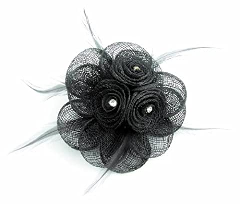 Stunning Black Sinamay Flower Hair Fascinator with centre clear sparkling rhinestones and matching feathers - finished on a sprung clip - pin for brooch corsage