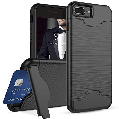 Ruida -eur iPhone 8 7 Plus Hülle, Dual Layer Brushed Armor Case, Hybrid PC+TPU Silikon mit Kickstand mit Kartenfach Handyhülle Multi-Winkel Ständer 2 in 1 Schutzhülle (iPhone 8 7 Plus, Schwarz) -