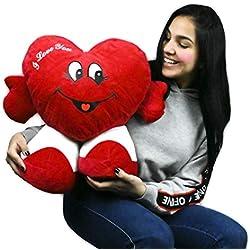 ML Regalo para San Valentin Toys Corazón de Peluche, con pies. Te Quiero. de Altura 45 cms. Tiene un Mensaje de 'I Love You'