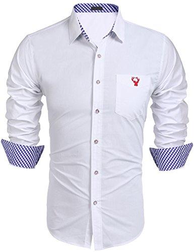 Burlady Hemden Karriert Slim Fit Herren Langarm Freizeithemden Trachtenhemden Oberteil Oktoberfest