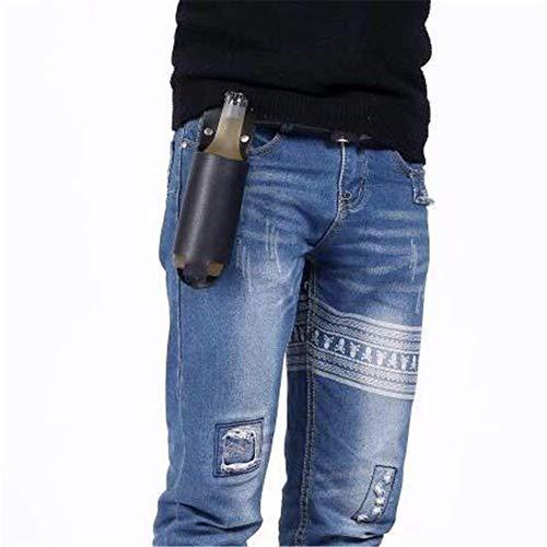 Ayuboom - Porta-birra in pelle da cintura, accessorio da uomo