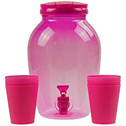 4 Litre Clear Pink Ice Cold Water Juice Beverage Tap Drink Dispenser With Cups