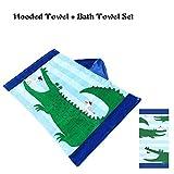 Florica Kinder Kapuze Badeponcho Handtuch + Badetuch 2 stücke Set 100% Baumwolle Strand Schwimmen für Jungen Mädchen Kinder und Erwachsene (Krokodil)