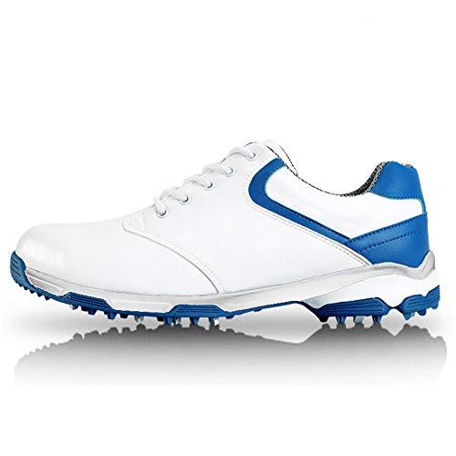 LXYIUN Herren Turnschuhe,Golfschuhe Anti-Rutsch Spikes Super stark Wasserdicht Sportschuhe,Blue,39