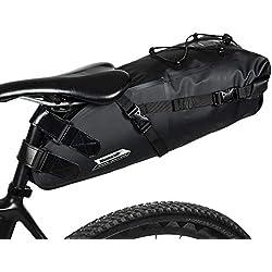 Borsa da Sella Bicicletta MTB BMX Bicicletta ciclismo sella sacchetto impermeabile con Logo Riflettente Borse da sella borsa custodia stoccaggio Big Saddle Bag Bikepacking 10L Black