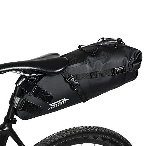 SunTime Wasserdichte Fahrrad Satteltasche, Zum Anschnallen Fahrradsitz Tasche Satteltasche Unter Dem Sitz für Mountainbike oder Straßen Fahrrad 10L Schwarz - Fahrrad Sitz Unter Dem Tasche