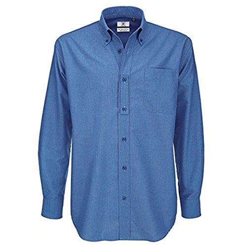 B&c collection uomo oxford camicia a maniche lunghe tasca sul petto morbido colletto button-down blue chip xx-large