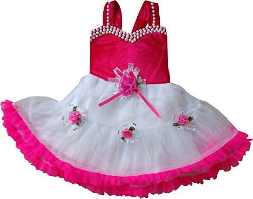 MPC Cute Fashion Baby Girls Princess Party Wear Flower Dress (Ba202161014_Pink_3-6 Months)