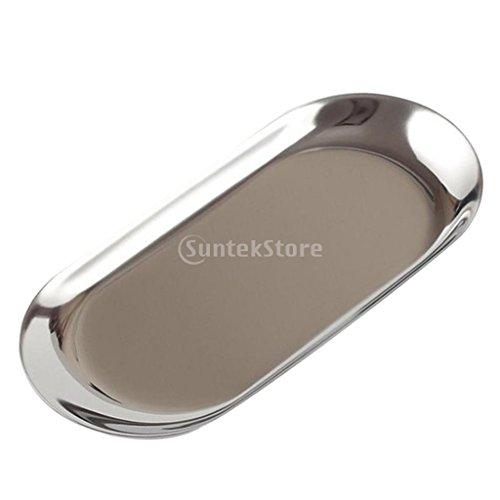 Tablett Schmuck-teller (Homyl Mini Oval Teller, 18cm /23cm - Silber S)