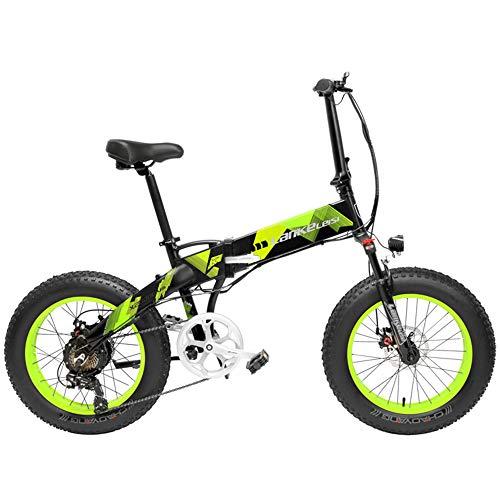 LANKELEISI X2000 20 Pollici Bici da Pieghevole Bicicletta elettrica 7 velocità Bici da Neve 48v 500W Motore Telaio in Lega di Alluminio 5 PAS Mountain Bike (Black Green, 14.5Ah)