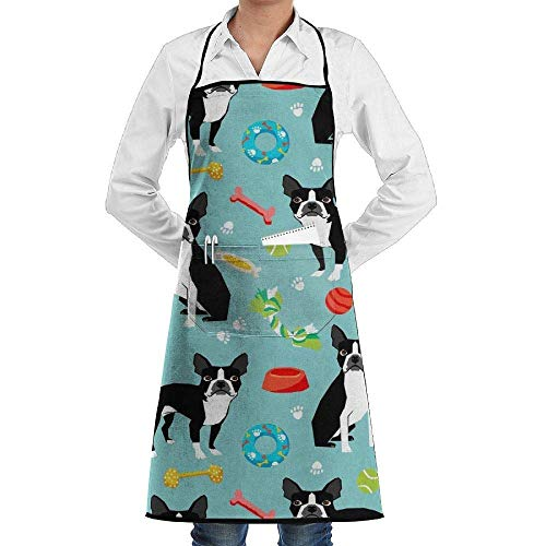 xcvgcxcvasda Einstellbare Latzschürze mit Tasche, Commercial Restaurant and Home Kitchen Schürze Boston Terrier Toys Dog Print Cooking, Baking, Crafting, Gardening, BBQ