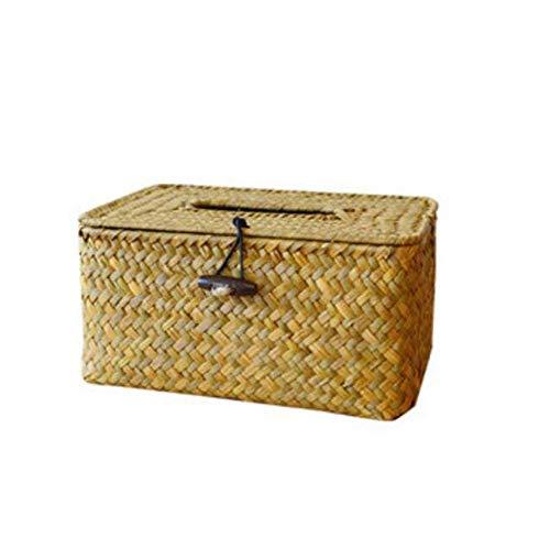 SeedWorld Taschentuchboxen – Badezimmerzubehör, Algen-Rattan, manuelle Gewebte WC- und Wohnzimmer-Tuchbox, Servietten, Taschentuchbox, 1 Stück (Cover Strand Tissue Box)