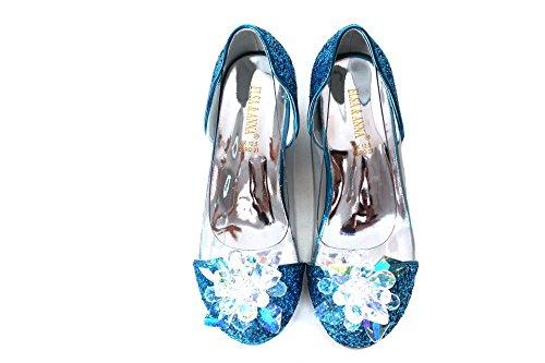 ELSA & ANNA® Última Diseño Niñas Princesa Reina de Nieve Partido Zapatos Zapatos de Fiesta Sandalias BLU14-SH (BLU14-SH, Euro 27-Longitud:18.0cm)