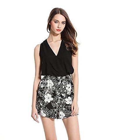 Good dress Camisole de l'impression du pantalon,noir,XL