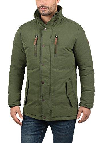 SOLID Dry Jacque Herren Parka lange Winterjacke Mantel mit Kapuze aus hochwertiger Baumwollmischung Ivy Green (3797)