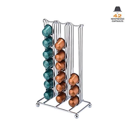 Porta capsule caffè nespresso - contiene 42 capsule linea originale elegante e moderna finitura cromata stabile. per macchine citiz, nespresso pixie e latissima