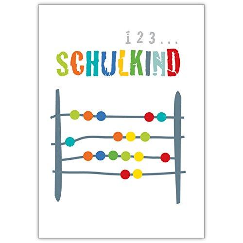 Lustige Einschulungskarte mit Abakus: 1,2,3…Schulkind