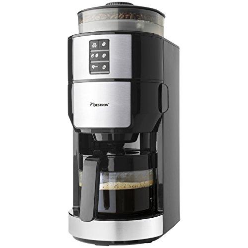 Bestron ACM1100G Kaffeemaschine mit Mahlwerk, 820 Watt max. bis zu 6 Tassen