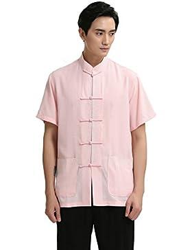 ACVIP Semplice Puro Camicia da Uomo a Maniche Corte,2 Colori