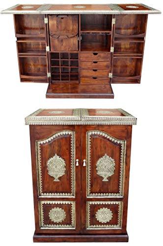 Orientalischer Hausbar Bartheke aufklappbar aus Massivholz Javana 170cm Groß | Theke Bar Tresen Deko orientalisch | Minibar Barschrank mit Bartisch für Wohnzimmer | Orientalische Möbel aus Indien