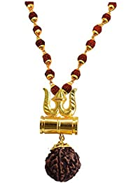 m.s.Trading Company Jewellery Golden Gold-Plated Brass, Wood Lord Shiv Trishul Damru Locket with Panchmukhi Rudraksha Mala for Men and Women