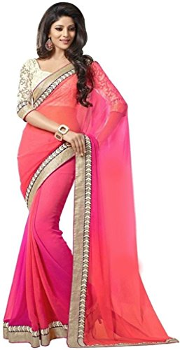 Arawins Clothing Latest Collection Orange & Pink Coloured Georgette Saree For Women Party Wear Offer Designer Sarees With Unstitched Blouse Piece  available at amazon for Rs.399