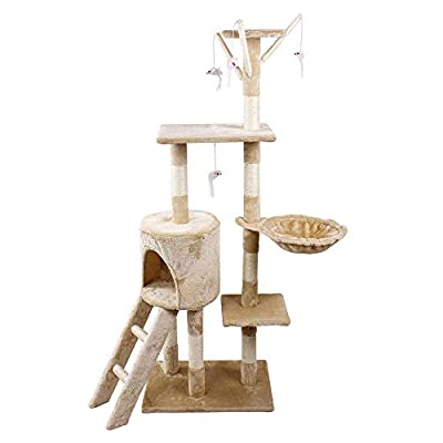 TMZ © 1.4M Height Cat Tree Scratching Climbing Activity Centre Sisal Bed Toys Scratcher Tower BEIGE by TMZ ©