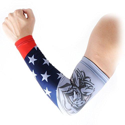 COOLOMG Arm Sleeves Armwärmer Ärmlinge Kompression Bandage Rutschfest Anti UV Running Radsport für Damen Herren 1 Paar USA Adler XXS