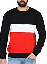 Gritstones Black/White/Red Full Sleeve Round Neck Sweatshirt