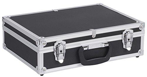 Werkzeugkoffer Werkzeugkiste 42,5x30,5x12,5 cm + Schlüssel - Schwarz Aluminium