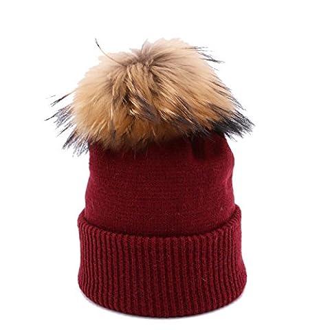 Automne Et Hiver Cheveux Balles à Tricoter Curling Mode Chaud Bonnet Chapeau Extérieur Preuve De Vent Slouch Stretch Cap Unisex,Red-OneSize