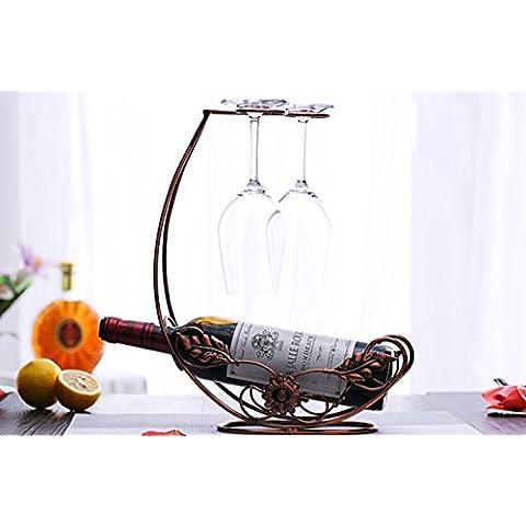 GYX Ferro battuto vino rack appendere ornamenti vino bottiglia display home calici occhiali rack bicchiere di vino rosso , 4