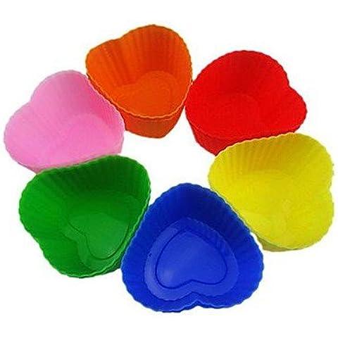 LY&HYL Amore Simbolo di cuore Muffin Stampi, Stampi Cupcake, 12 Pezzi per Set, L 7cm x W x H 6,5 centimetri 3cm, casuale colori assortiti , Multi Color