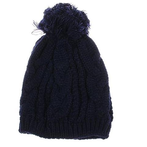 Automne Et Hiver Tricoté Twist Big Hair Ball Warm Beanie Hat Extérieur Au Vent Unisex Slouch Stretch Cap,Coffee-OneSize